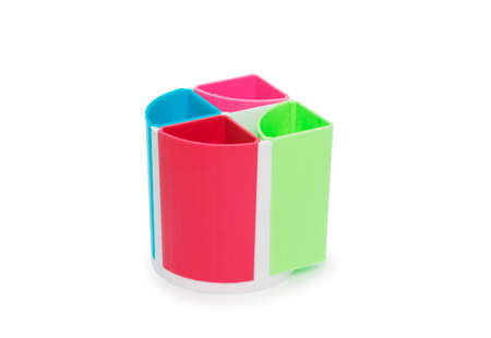 pencil holder: Colorful pencil holder isolated on white background