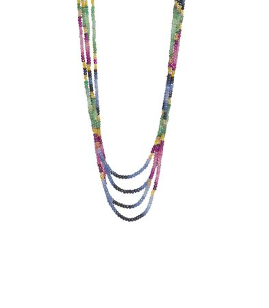colorful beads: colorful beads necklace isolated on white background
