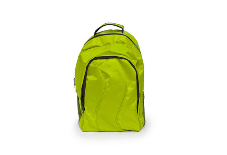 Red school backpack isolated on white photo