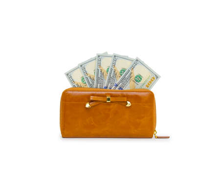 Purse with hundred dollar banknote isolated on white background cutout Stock Photo