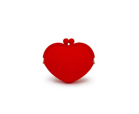 outmoded: Red purse isolated on white background cutout Stock Photo