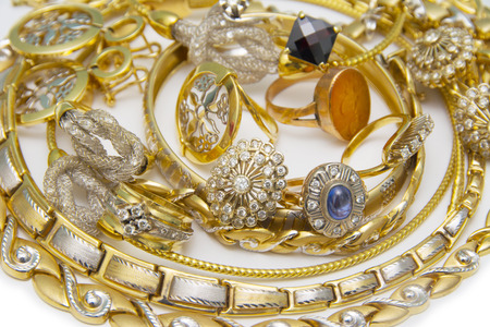 silver jewellery: Large collection of gold jewellery Stock Photo