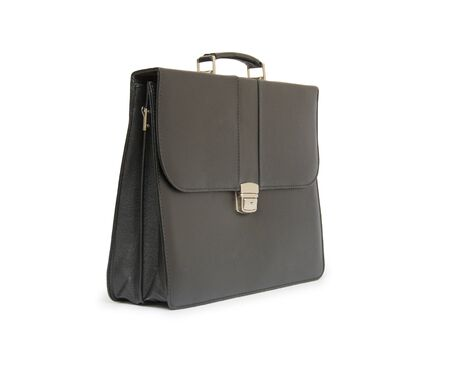 leather briefcase: Business leather briefcase isolated