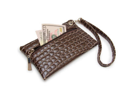 outmoded: Purse with dollars banknote isolated on white background.