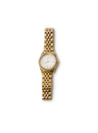 jewlery: golden modern wrist watch isolated