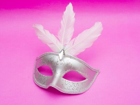 fasching: Carnival mask isolated on pink background
