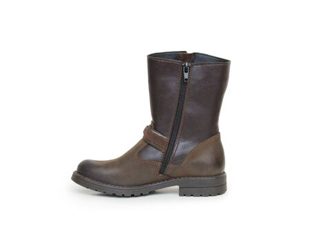 foot gear: Leather boots on a white background Stock Photo