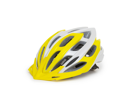 exercise bike: Bicycle mountain bike safety helmet isolated Stock Photo