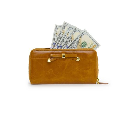 the outmoded: Purse with dollars banknote isolated on white background.