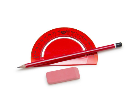 Ruler, pencil and eraser isolated on white Stock Photo