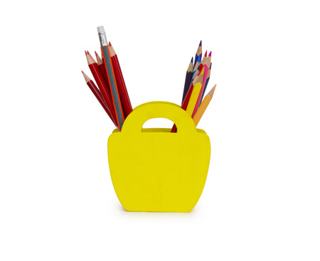pencils in a pencil case on white background Stock Photo