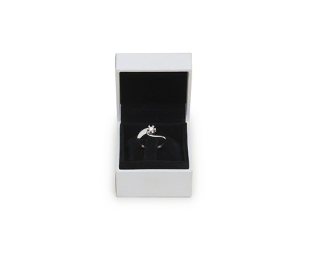 image of rings in a gift box on white background
