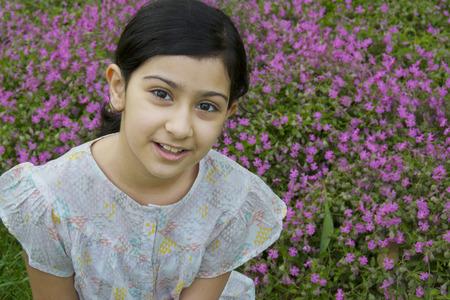 Sweet little girl outdoors Stock Photo