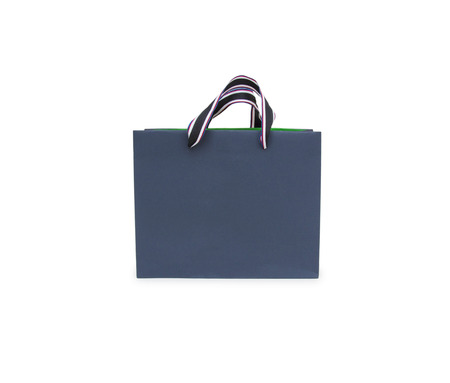 paper bag with handles on a white background