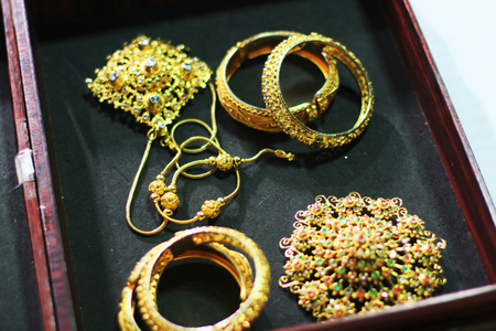 costume jewelry: Jewelry and gold barrette for Thai costume