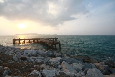 jetty: Sunset on the old concrete jetty in nateral park