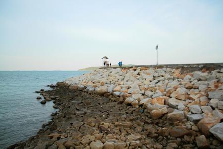 breakwater: Sea coast with rock breakwater,Thailand