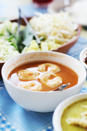 flavorsome: Red curry with fish ball in bowl