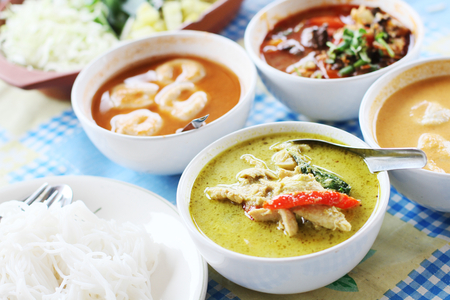 rice noodles: Kanom jeen nam ya ; Rice noodles in fish curry sauce. Traditional Thai cuisine, rice vermicelli served with vegetables