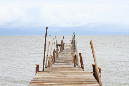 groyne: Long bridge in the sea Stock Photo