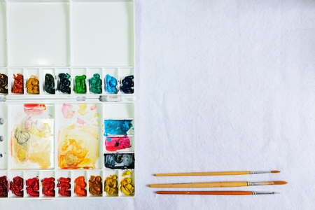 Set of watercolor paints art brushes on white background Stock Photo