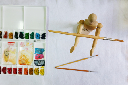 Set of watercolor paints art brushes on white background Stok Fotoğraf