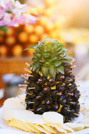 Sweet Chinese Red Date Recipes on pineapple fruits.