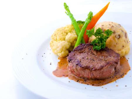 Tenderloin Steak in White Plate Stock Photo - 5744262