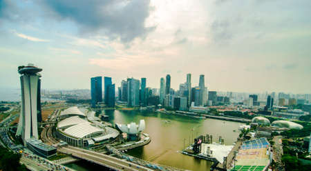 Aerial view of Singapore Marina Bay area