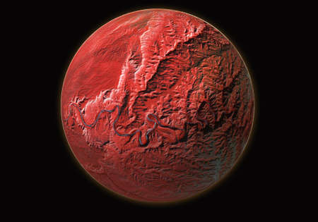 Red planet isolated on space