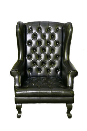 black leather chair isolated on white