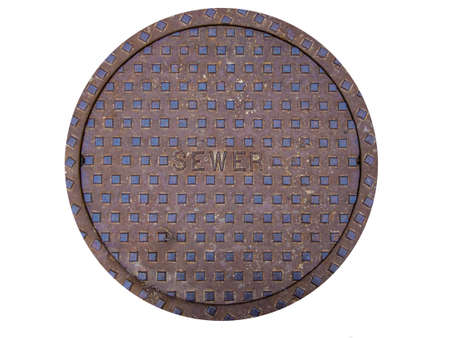 metal grate: sewer cover isolated on white