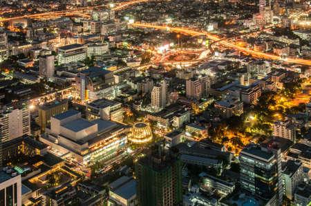 Bangkok downtown top View at Night