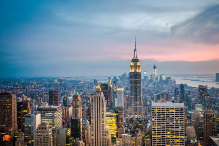 newyork: New York cityscape - taken after sunset  Stock Photo