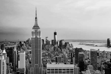 New York City skyline in black and white photo