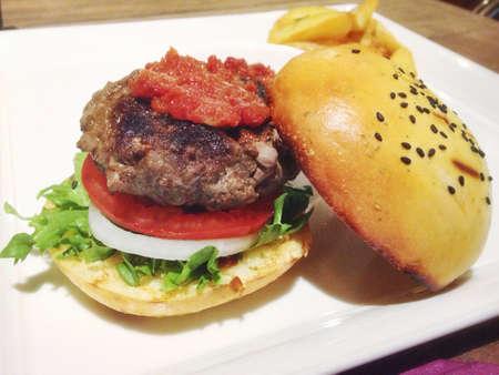햄버거의 가까이 스톡 콘텐츠
