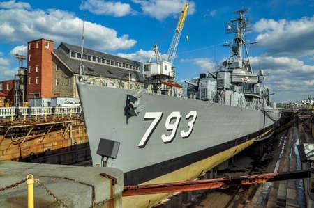 The Second World War battleship Cassin young