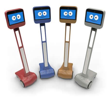 Telepresence robot isolated on white 免版税图像