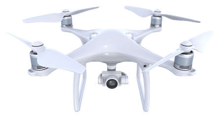 Drone with camera isolated on white Stock Photo