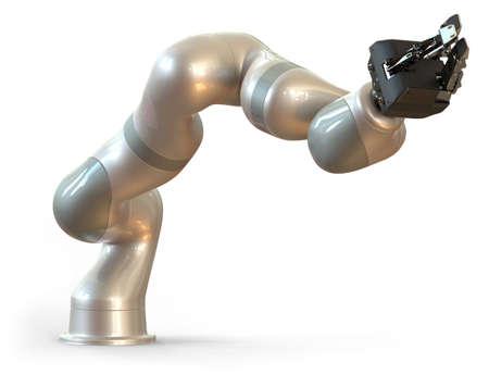Industrial robot manipulator isolated on white Foto de archivo