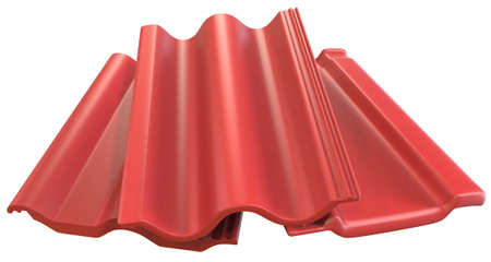 Roof tiles isolated on white, 3D rendering Banco de Imagens