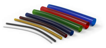 Flexible plastic tubing isolated on white Stock Photo