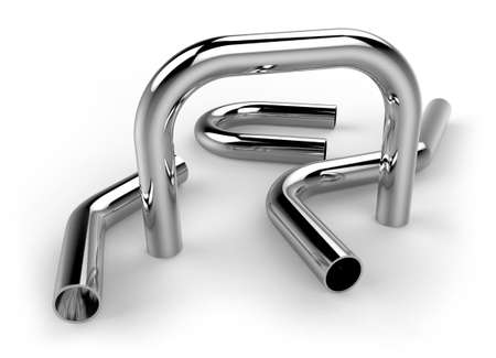 Handrail pipes isolated on white Banco de Imagens