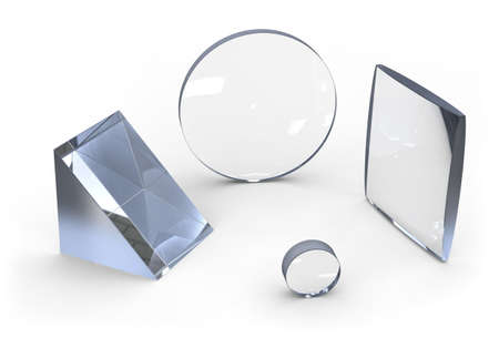 Optical lenses isolated on white