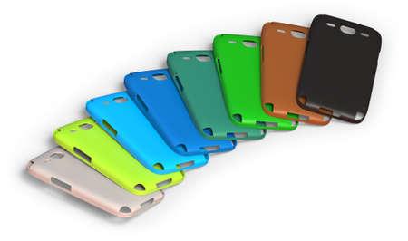Cajas de teléfonos móviles aislados en blanco