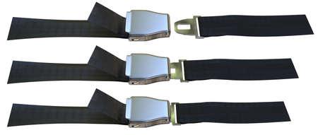 Aviation seat belt isolated on white