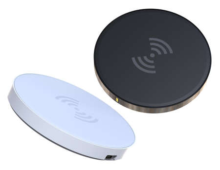 Wireless charger pad isolated on white Foto de archivo