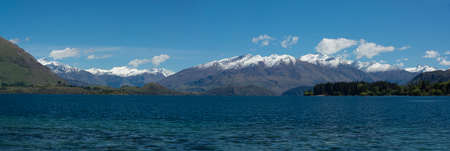 Panorama of lake and mountains in New Zealand