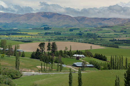 Farms and grasslands of New Zealand Stock Photo