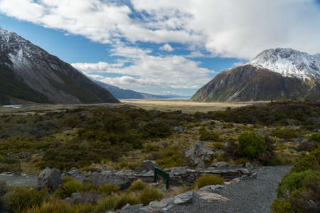 Mountain landscape with trail, New Zealand